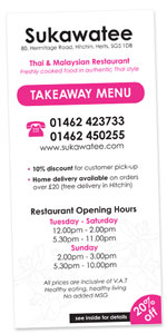 Download the Sukawatee takeaway menu